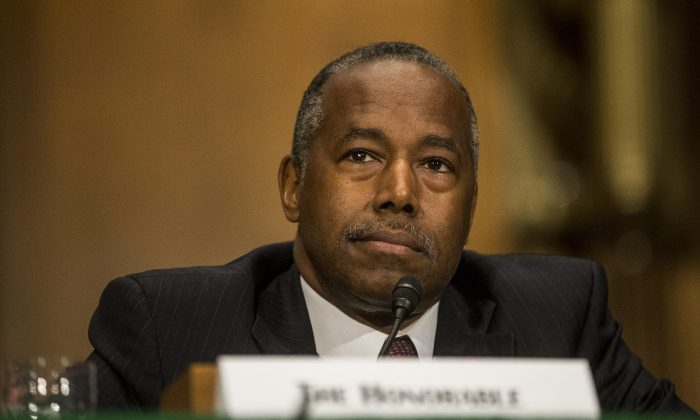 Housing and Urban Development Secretary Ben Carson testifies during a Senate Banking, Housing, and Urban Affairs Committee hearing in Washington on Sept. 10, 2019. (Zach Gibson/Getty Images)