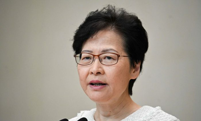 Hong Kong leader Carrie Lam speaks during a press conference in Hong Kong on Sept. 10, 2019.  (Anthony Wallace/AFP/Getty Images)