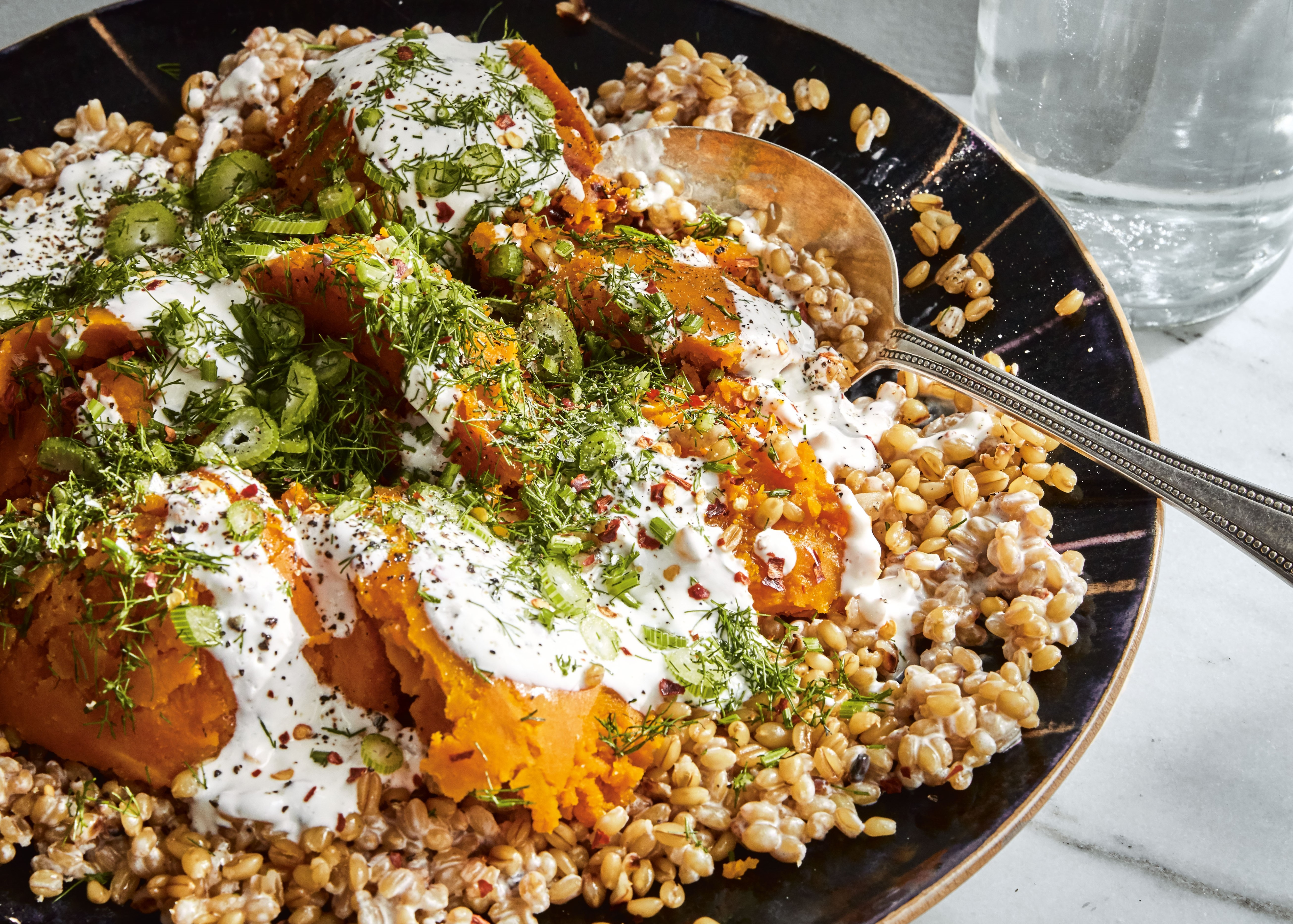 Grains and roasted squash with spicy buttermilk dressing