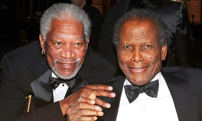 Actors Morgan Freeman and Sir Sidney Poitier (R) attend the 39th AFI Life Achievement Award ceremony in Culver City, Calif., on June 9, 2011. (Frazer Harrison/Getty Images for AFI)