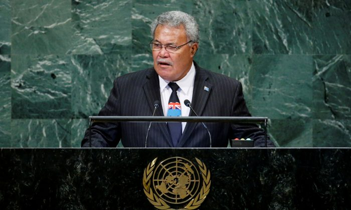 Tuvalu Prime Minister Enele Sosene Sopoaga addresses the 73rd session of the United Nations General Assembly at U.N. headquarters in New York, U.S. on Sept. 27, 2018. (Eduardo Munoz/Reuters)