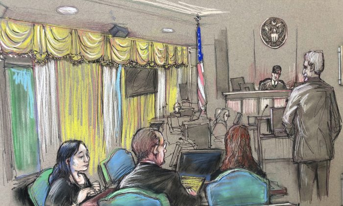 In this April 15, 2019, file court sketch, Yujing Zhang, left, a Chinese woman charged with lying to illegally enter President Donald Trump's Mar-a-Lago club, listens to a hearing before Magistrate Judge William Matthewman in West Palm Beach, Florida. (Daniel Pontet via AP, File)