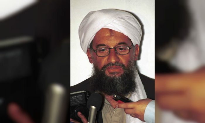 Ayman al-Zawahri speaks to the press in Khost, Afghanistan. A 1998 file photo made available Friday, March 19, 2004. (AP Photo/Mazhar Ali Khan, File)