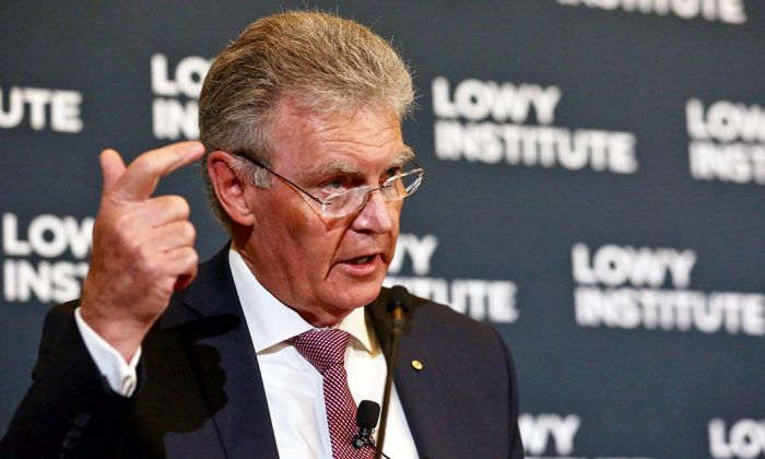 Australian Security Intelligence Organisation Director-General Duncan Lewis speaks at the Lowy Institute in Sydney, Australia, on Sept. 4, 2019. (Courtesy of Peter Morris-Sydney Heads)