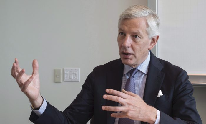 Dominic Barton speaks during an interview with The Canadian Press in a file photo. (The Canadian Press/Paul Chiasson)