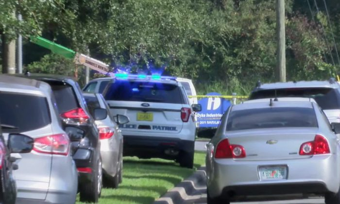 Police respond to a stabbing incident at Dyke Industries in Tallahassee, Fla., on Sept. 11, 2019. (Courtesy of WTXL)