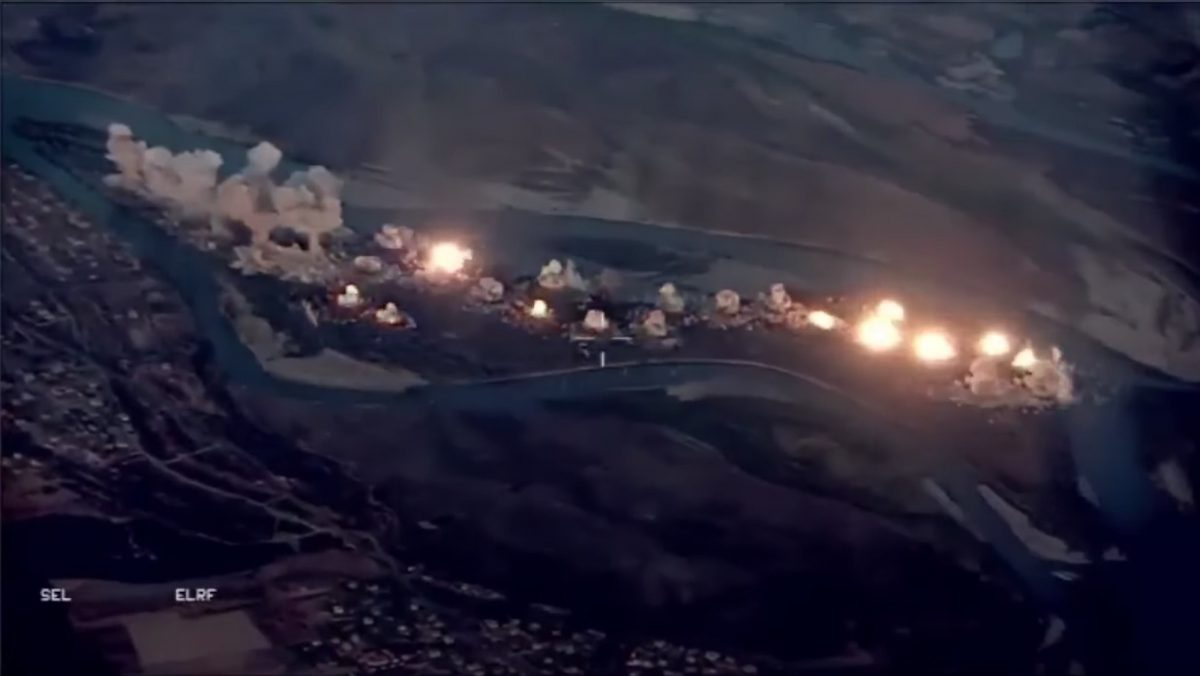 USA bombs ISIS-'infested island' in Iraq, new video shows