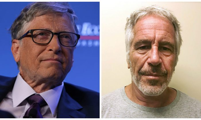 L: Microsoft principle founder Bill Gates participates in a discussion during a luncheon of the Economic Club of Washington on June 24, 2019. (Photo by Alex Wong/Getty Images) R: Jeffrey Epstein appears in a photograph taken for the New York State Division of Criminal Justice Services' sex offender registry in a 2017 file photograph. (New York State Division of Criminal Justice Services/Handout via Reuters)