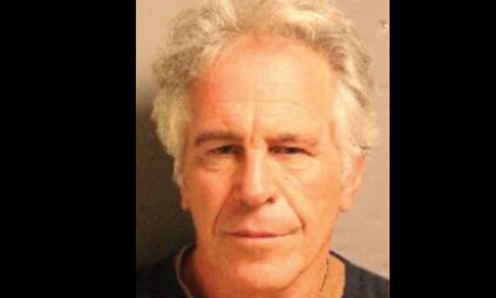 Jeffrey Epstein in a newly released mugshot (Department of Justice)