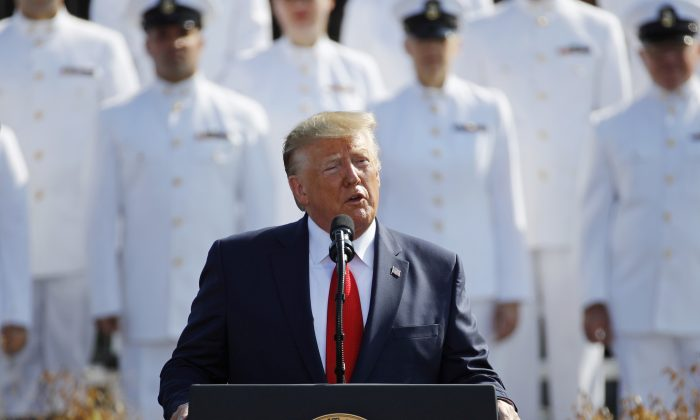 President Donald Trump speaks during a ceremony in observance of the 18th anniversary of the September 11th attacks at the Pentagon in Washington on Sept. 11, 2019. (AP Photo/Patrick Semansky)
