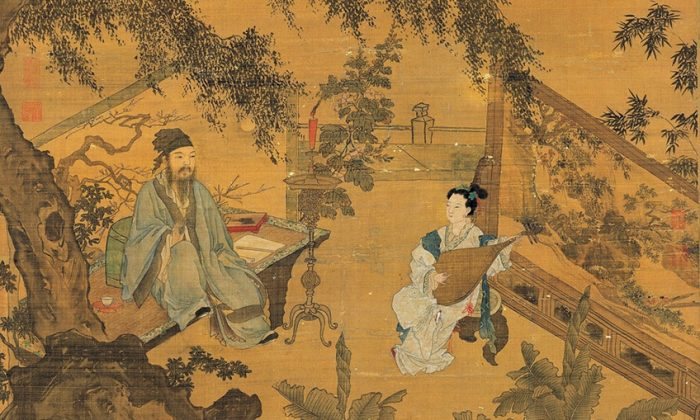 """A detail from """"Tao Gu Presents a Poem,"""" Tang Yin. Hanging scroll, ink and colors on silk, 66 ½ inches by 40 ¼ inches. National Palace Museum, Taipei. (Public Domain)"""