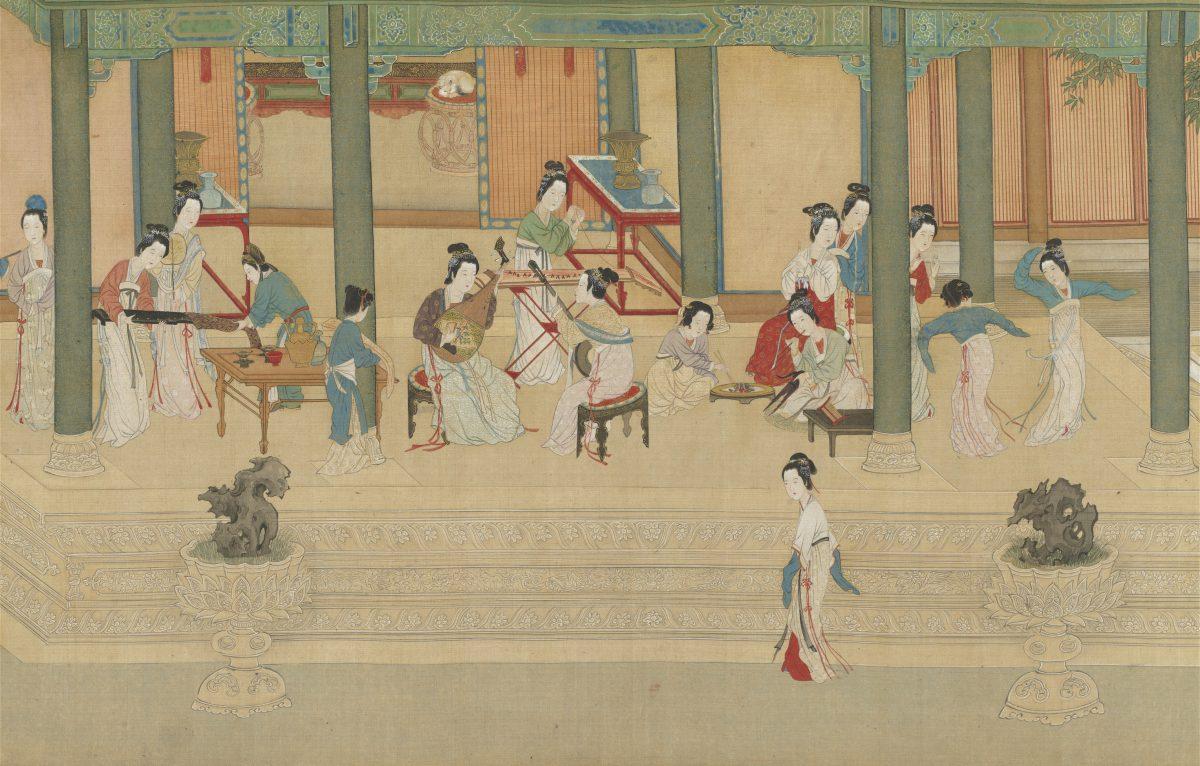 Court ladies enjoying leisure activities