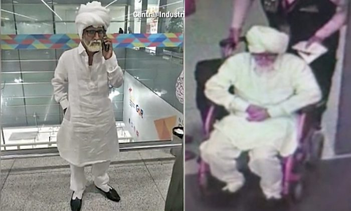 These pictures of the 32-year-old Indian man dressed up as a 81-year-old man to fly to New York in disguise were provided by the Central Industrial Security Force. (Courtesy of Central Industrial Security Force)