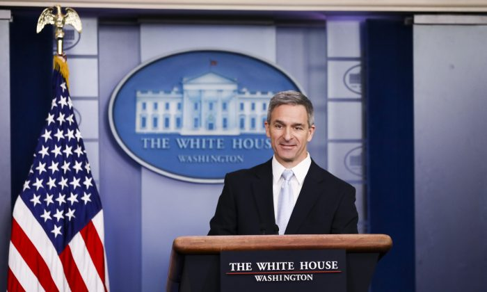 Acting Director of United States Citizenship and Immigration Services Ken Cuccinelli speaks to media at the White House in Washington on Aug. 12, 2019. (Charlotte Cuthbertson/The Epoch Times)