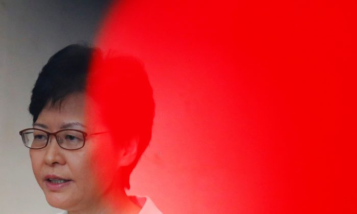 Hong Kong's Chief Executive Carrie Lam addresses a news conference in Hong Kong, China on Sept. 5, 2019. (Kai Pfaffenbach/Reuters)