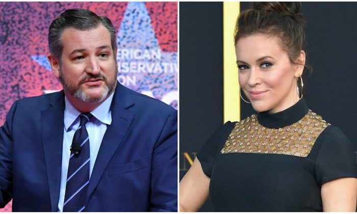 """L: Senator Ted Cruz (R-Texas) speaks during the annual Conservative Political Action Conference in National Harbor, Maryland, on March 1, 2019. (Mandel NganAFP/Getty Images) R: Actress Alyssa Milano arrives at the Premiere Of Warner Bros. Pictures' """"A Star Is Born"""" at The Shrine Auditorium on Sept. 24, 2018 in Los Angeles, California. (Neilson Barnard/Getty Images)"""