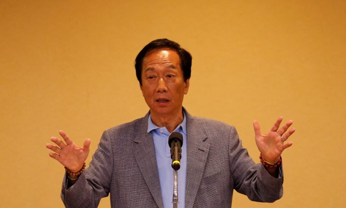 Foxconn Technology Group founder and chairman, Terry Gou, speaks during a news conference after his trip to the U.S., in Taipei, Taiwan on May 6, 2019. (Tyrone Siu/Reuters)