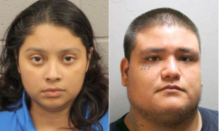 Priscilla Torres and Santiago Esparza are charged in the death of Torres' daughter. (Houston Police Department)