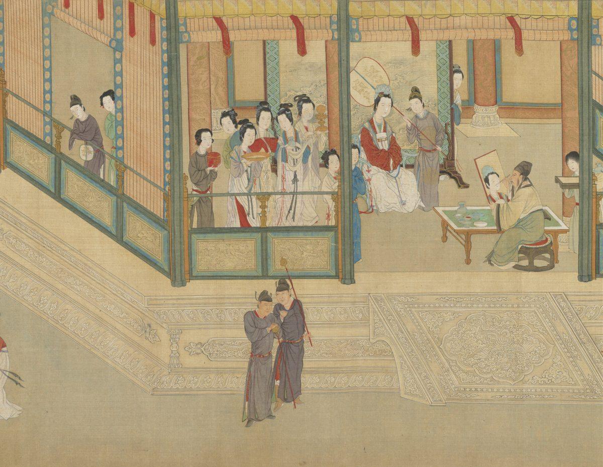 Court artist Mao Yanshou paints the lady Wang Zhaojun