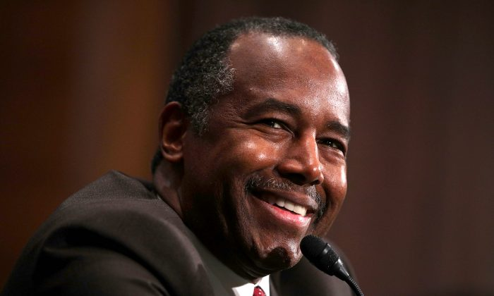 Secretary of Housing and Urban Development-designate Ben Carson testifies during his confirmation hearing before Senate Banking, Housing and Urban Affairs Committee on Capitol Hill in Washington on Jan. 12, 2017. (Alex Wong/Getty Images)