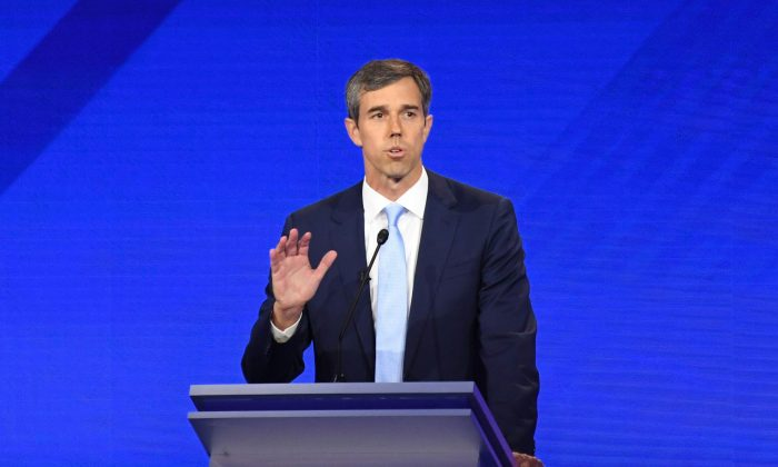 Democratic presidential hopeful former Texas Representative Beto O'Rourke speaks during the third Democratic primary debate of the 2020 presidential campaign season hosted by ABC News in partnership with Univision at Texas Southern University in Houston, Texas on Sept. 12, 2019. (Photo by Robyn Beck/AFP/Getty Images)