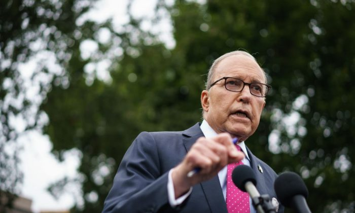 National Economic Council Director Larry Kudlow speaks to reporters outside of the West Wing of the White House in Washington on Sept. 6, 2019. (MANDEL NGAN/AFP/Getty Images)
