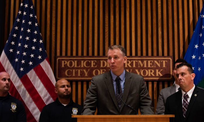 NYPD Commissioner Dermot Shea speaks during a press conference about gang violence at NYPD headquarters in New York City on June 27, 2018. (Drew Angerer/Getty Images)