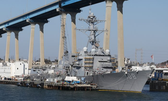 The USS Wayne E. Meyer (DDG-108) Arleigh Burke-class Destroyer sits docked in San Diego, California on April 12, 2015. (Louis Nastro/Reuters)