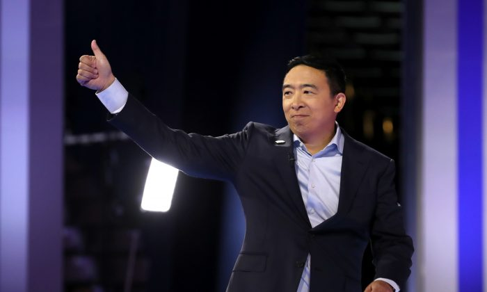 Democratic presidential candidate former tech executive Andrew Yang is introduced before the Democratic Presidential Debate at Texas Southern University's Health and PE Center in Houston, Texas on Sept. 12, 2019. (Photo by Win McNamee/Getty Images)