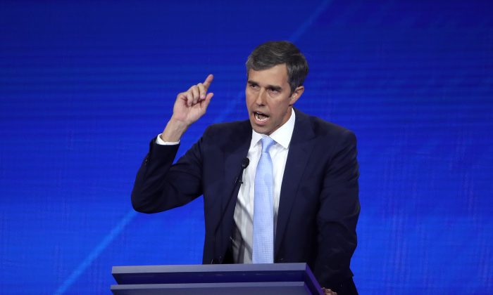 Democratic presidential candidate former Texas congressman Beto O'Rourke speaks during the Democratic presidential debate at Texas Southern University's Health and PE Center in Houston, Texas on Sept. 12, 2019. (Photo by Win McNamee/Getty Images)