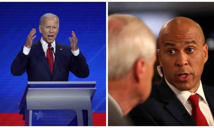 (L)-2020 presidential candidate and former Vice President Joe Biden speaks at the Democratic primary debate in Houston, Texas on Sept. 12, 2019. (Win McNamee/Getty Images) (R)-Democratic presidential candidate Sen. Cory Booker (D-N.J.) is interviewed the spin room after the Democratic Presidential Debate at Texas Southern University in Houston, Texas on Sept. 12, 2019. (Justin Sullivan/Getty Images)