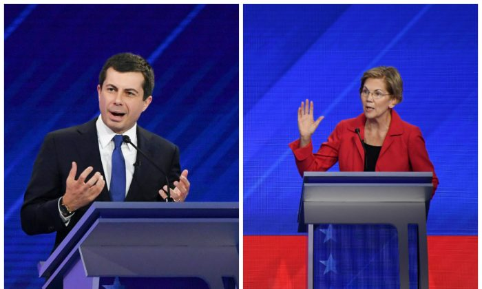 (L)-Democratic presidential hopeful Mayor of South Bend, Indiana, Pete Buttigieg speaks during the 2020 presidential debate on Sept. 12, 2019. (Robyn Beck/AFP/Getty Images) (R)-Democratic presidential candidate Sen. Elizabeth Warren (D-Mass.) speaks at the Democratic presidential debate in Houston, Texas on Sept. 12, 2019. (Robyn Beck/AFP/Getty Images)