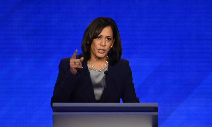 Sen. Kamala Harris (D-Calif.), a presidential candidate, speaks during the third Democratic primary debate of the 2020 presidential campaign season at Texas Southern University in Houston, Texas on Sept. 12, 2019. (Robyn Beck/AFP/Getty Images)