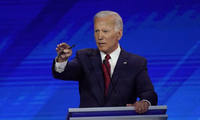 Former Vice President Joe Biden responds to a question on Sept. 12, 2019, during a Democratic presidential primary debate hosted by ABC at Texas Southern University in Houston. (David J. Phillip/AP Photo)