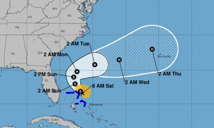 The U.S. National Hurricane Center (NHC) said in an 8 a.m. update that Tropical Storm Humberto has formed and is 30 miles from Hurricane Dorian-ravaged parts of the Bahamas (NHC)