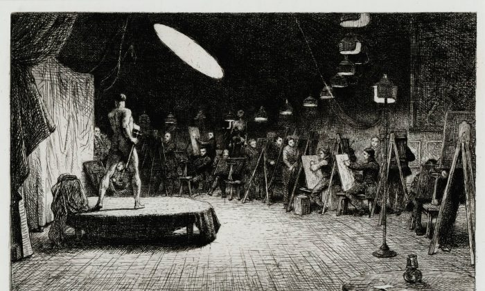 """Life School, Royal Academy,"" 1865, by Charles West Cope. Etching. (Royal Academy of Arts)"