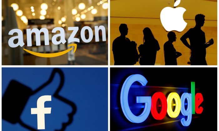 FILE PHOTO: The logos of Amazon, Apple, Facebook and Google in a combination photo from Reuters files. (File Photo)