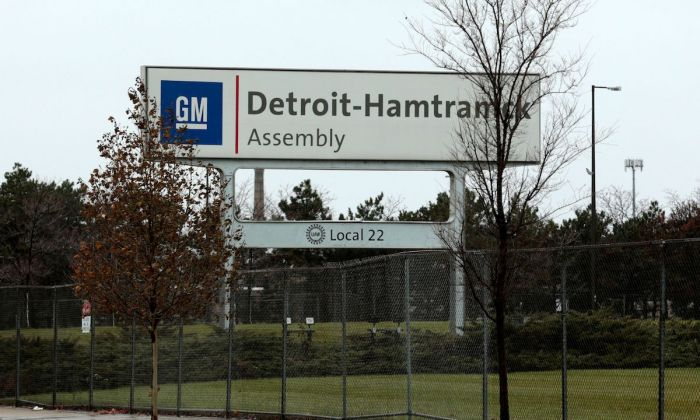 A sign is viewed at the General Motors Detroit-Hamtramck Assembly as they announced the closing of multiple facilities including this one in Detroit, Mich., on Nov. 26, 2018. (Jeff Kowalsky/AFP/Getty Images)