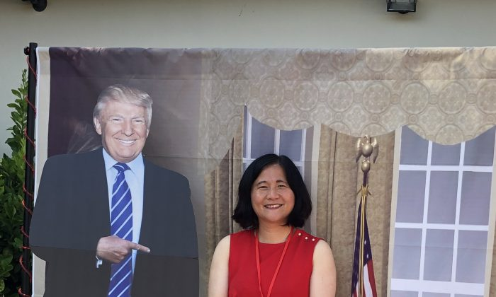 "A cut-out of President Donald Trump and San Francisco mayoral candidate Ellen Lee Zhou, known as the ""Chinese Donald Trump."" (Courtesy of Ellen Lee Zhou)"