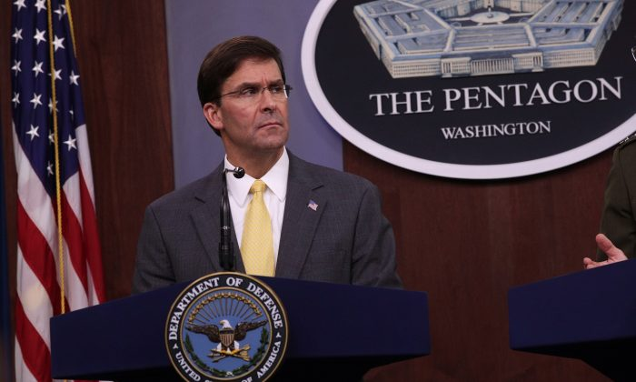 Secretary of Defense Mark Esper holds a media briefing at the Pentagon in Arlington, Va., on Aug. 28, 2019. (Alex Wong/Getty Images)