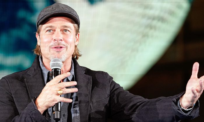 Ad Astra Lead Actor Brad Pitt speaks at National Museum of Emerging Science and Innovation in Tokyo, Japan, on Sept. 12, 2019. (Christopher Jue/Getty Images)