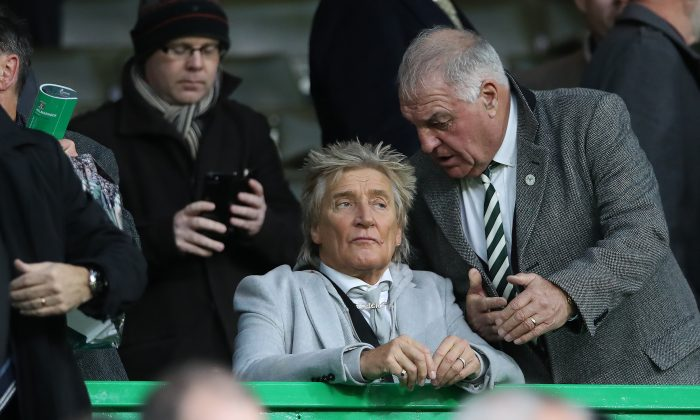 Rod Stewart looks on during the Scottish Ladbrokes Premiership match between Celtic and Kilmarnock at Celtic Park Stadium in Glasgow, Scotland on Dec. 8, 2018. (Ian MacNicol/Getty Images)