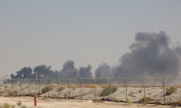 Smoke billows from an Aramco oil facility in Abqaiq about 37 miles southwest of Dhahran in Saudi Arabia's eastern province on Sept. 14, 2019. (AFP/Getty Images)