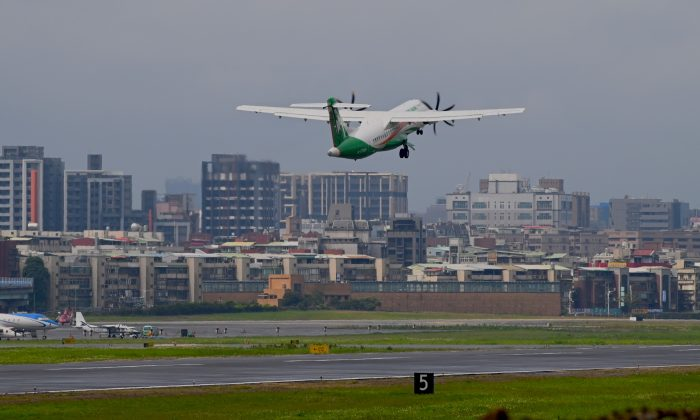 An Eva Air Airbus ATR-72 plane takes off at Sung Shan airport in Taipei on March 6, 2019. Taiwan continues to be barred from participating in a global civil aviation conference that prevents it from having first-hand access to information to better manage its airspace. (Sam Yeh/AFP/Getty Images)