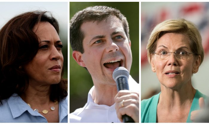 (L-R): Sen. Kamala Harris (D-Calif.), South Bend Mayor Pete Buttigieg, and Sen. Elizabeth Warren (D-Mass.). The trio are among the Democratic presidential contenders who called for the impeachment of Supreme Court Justice Brett Kavanaugh. (Justin Sullivan/Getty Images and Chip Somodevilla/Getty Images)
