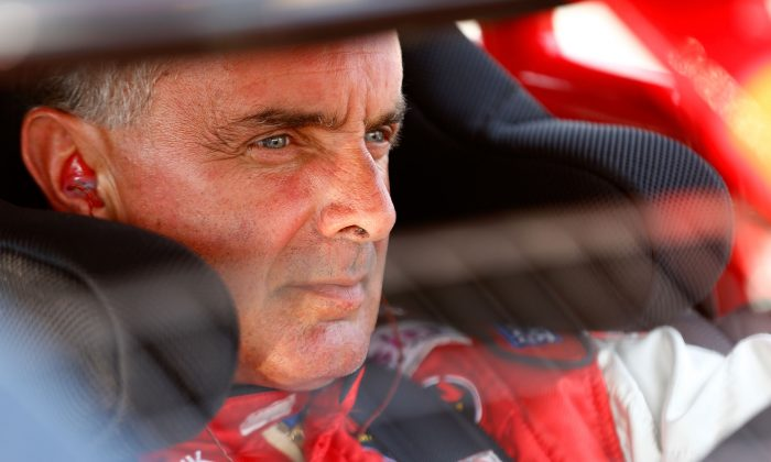 Mike Stefanik sits in his car during qualifying for the NASCAR Whelen Modified Tour Town Fair Tire 100 at New Hampshire Motor Speedway in Loudon, New Hampshire on July 13, 2012. (Jared Wickerham/Getty Images for NASCAR)