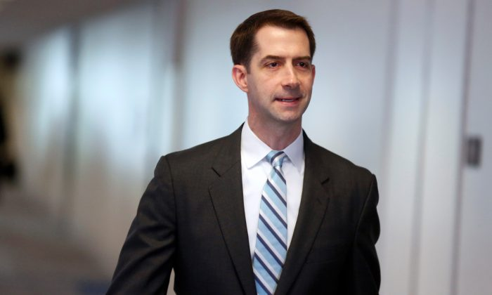 Senator Tom Cotton (R-Ark.) arrives for a Senate Intelligence Committee hearing in Washington, on May 16, 2018.      (Reuters/Joshua Roberts)