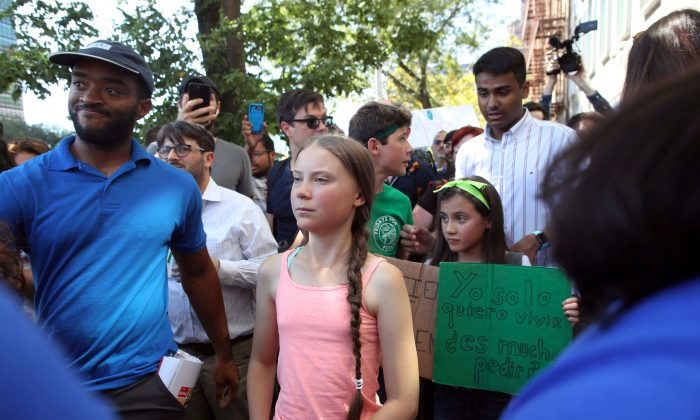 Swedish climate change activist Greta Thunberg participates in a Youth Climate Strike outside the United Nations in New York on Aug. 30, 2019. (AP Photo/Mary Altaffer)