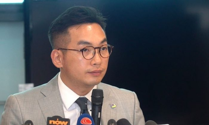 Alvin Yeung, Leader of the Civic Party and a member of the Legislative Council speaks at a press conference at LegCo in Hong Kong on September 17, 2019. (Shenghua Sung/NTD News)