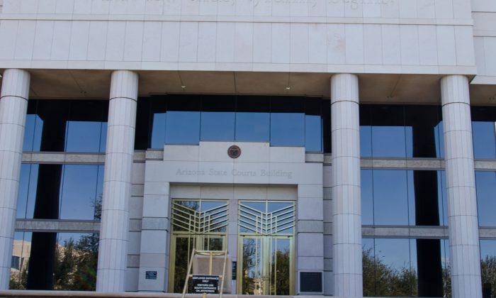 Front doors of Arizona Supreme Court in Phoenix, Ariz., on Feb. 18, 2013. (davidpinter/creative commons attribution unported)